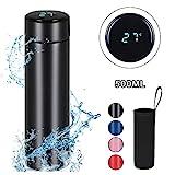 flintronic Thermosflasche, (500ml) Wasserflasche Vakuum Isolierbecher 304 Edelstahl, LED-Touchscreen-Temperaturanzeige, Smart Becher Dichtflasche Ideal für Hitze und Kälte - Schwarz