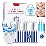 Teeth Whitening Kit, GLAMADOR Wiederverwendbares Zahnaufhellung Set, 12 Zahnaufhellungsgel, 3 Beruhigendes Gel, 1 LED Blaulicht-Bleaching-Lampe, 1 Zahnseide 50m, 1 Mundschale, gegen gelbe Zähne