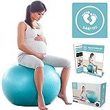 BabyGO Gymnastikball Schwangerschaft Sitzball Büro Schwangere Yoga Pezziball 65cm + KOSTENLOSE ÜBUNGSHEFT für Geburt Rückbildung Beckenbodentraining & Fitness Anti-Burst 1000KG Pezzi Ball
