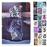 Rose-Otter Handyhülle für Kindle Paperwhite (2012-2020) 6 Zoll Hülle Tablet Leder PU Flip Case Kartenfach Klappbar Schutzhülle Tasche - Katze Tiger