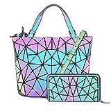Hot One Farbänderungen Geometrische Leuchtende Geldbörsen und Handtaschen Holographic Purse Reflective Purse Fashion Rucksäcke (5# Leuchtend Mittel+Reißverschluss Brieftasche)
