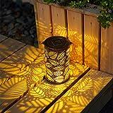 GIGALUMI Solar Laterne für außen wasserdicht Metall Gartenlaterne hängende Solarlampe ideal für Garten,Terrasse,Hinterhöfe und Wege