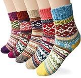YSense 5 Paar Damen Winter Wollsocken, atmungsaktive weiche dicke Socken bunte Farbe Premium Qualität klimaregulierende Wirkung MEHRWEG