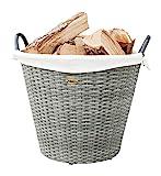 HABAU Feuerholzkorb mit Metallrahmen, grau, 42 x 42 x 33 cm