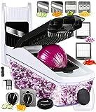 FAVIA Gemüseschneider Mandoline Slicer Food Cutter Manueller Zerkleinerer Spiralschneider mit Multifunktionsklingen, inklusive Bürste und Behälter für Gemüse, BPA-frei, spülmaschinenfest