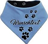 KLEINER FRATZ beidseitiges Multicolor Hundehalstuch Wendehalstuch für Hund/Katze Dog Pet Tuch Ihrem Wunschtext (Gr.1 - Halsumfang 27-30 cm, hellblau-marine)