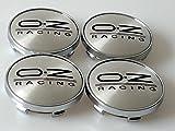 Nabenkappen für legierte Naben, OZ Racing Sport, 60 mm, 4 Stück, silber, schwarz