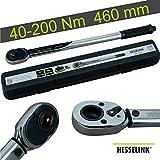 Hesselink DS-200 Drehmomentschlüssel 40-200 Nm I ideal für den Reifenwechsel/Räderwechsel am PKW I mit 1/2' Umschaltknarre