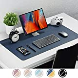 Upgrade Knodel Tischunterlage, Schreibtischunterlage, 80cm x 40cm PU-Leder Tischunterlage, Laptop Tischunterlage, wasserdichte Schreibunterlage für Büro- oder Heimbereich, doppelseitig (Dunkelblau)