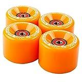 FunTomia 4 Stück Longboard/Skateboard/Mini-Board Rollen (Big Wheels) in 65x45mm 80A inkl. Mach1® Kugellager und Metall Spacer 80A Rollenhärte