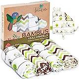 Tabalino Traumhaft Weiche Bambus Mullwindeln Spucktücher für dein Baby 80x80cm 4er-Pack mit Schmusetuch Mulltücher Junge Mädchen Vögel Stoffwindeln aus Musselin Moltontücher Baumwolle