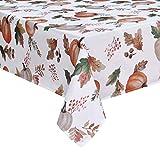 Alishomtll Tischdecke Herbst Tischtuch 150x210 Rechteckige Tafeldecke Outdoor Wasserabweisend Abwaschbar für Garten Zimmer (Polyester, Kürbis)