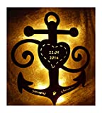 Schlummerlicht24 Holz 3d Motive Design Led Nachtlicht Lampen'Anker der Liebe', Geschenk mit Namen & Datum für den Freund die Freundin, als Liebesbeweis zum Jahrestag Hochzeit Verlobung Schlafzimmer