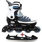 Cox Swain Sneak Kinder Inline Skates & Kinder Schlittschuh 2 in 1 - größenverstellbar ABEC5, Blau, M (37-40)
