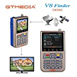 GT MEDIA V8 Satelliten Finder Meter Sat Finder Satellitenerkennung DVB-S / S2 / S2X Signalempfänger Decoder HD 1080P FTA 3,5 'LCD Eingebauter 3000mAh Zur präzisen Einstellung der Satellitenschüssel