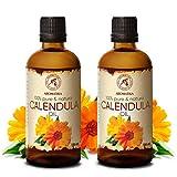 Calendula Öl 2x100ml - Calendula Officinalis - 100% Rein & Natürlich - Ringelblumen Öl 200ml für Gesicht - Haare - Haut - Nägel - Hände - für Schönheit - Massage - Kosmetik - Körperpflege