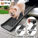 Hunderampe - Klappbar, rutschfest, Leicht, Stabil, Max 90 kg, Kunststoff, Schwarz (Größenwahl) - Kofferraum, Sofa, Bett Einstiegshilfe für Haustier
