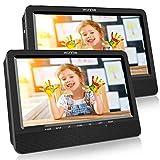 WONNIE 2020 Modelle 10. 5' DVD Player Auto 2 Bildschirme Tragbare DVD Player 4 Stunden Spielzeit mal 1024 * 600 HD Kopfstütze Fernseher, Unterstützung für USB/SD, AV IN/Out