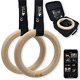 Wild Instincts Turnringe Holz 32mm mit App | Gym Rings | Gymnastikringe | Profi Holzringe Set für Crossfit, Fitness & Calisthenics | Trainingsringe aus Holz