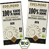 Edelmond Bio Rohe 100% Edel - Kakaobohne Tafel. Nur 1 Zutat, daher zuckerfrei ohne Lecithin. Sehr bitter - keine normale Schokolade. Cadmium getestet. (2 Tafeln)