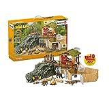 Schleich 42350 Wild Life Spielset - Dschungel Forschungsstation Croco, Spielzeug ab 3 Jahren
