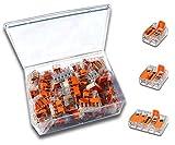 WAGO Klemme (100 Stück) Set Sortiment Serie Compact 221-412 | 221-413 | 221-415 in praktischer Klarsichtdose