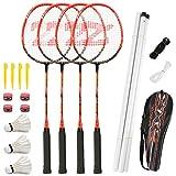 Fostoy Badmintonschläger, Badmintonschläger Set mit 4 Badmintonschlägern und 3 Federbällen, Tragetasche, Kohlefaser Komplettes Badminton Set für Erwachsene, Anfänger, Kinder