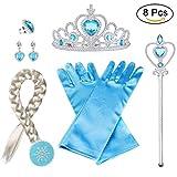 Vicloon ELSA Prinzessin Kostüme, Set of 8 mit Handschuhe, Tiara Braid, Zauberstab, Prinzessin Krone, Ohrringes, Ringe, Geeignet für Mädchen von 2-9 Jahren - Blau