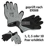 ebyreo Schnittschutz Handschuh | Schutzklasse 5 grau/schwarz | EN38 EN 4208 Schnittschutzhandschuhe | Arbeitshandschuhe Handwerk Garten | Anti-Schneide-Schutz (1 Paar, Größe 10)