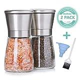 SveBake Salz und Pfeffermühle 2er Set mit Verstellbarem Keramikmahlwerk - Gewürzmühle aus Edelstahl, Mühle, Streuer, Salzmühle, Salzstreuer