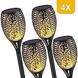 Wilktop 4 Stück Solar Garten Licht,Solar Gartenleuchte Solarlampe mit IP65 Wasserdichte,Solar Fackeln Solarleuchte Flamme 96 LED Licht Sensor Warmlicht