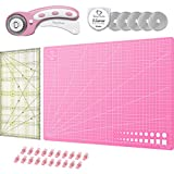 Honey's Heaven 45 mm Rollschneider Stoffschneider Set inkl. Schneideunterlage, Ersatzklingen, Stoffklammern, Patchwork-Lineal (Rosa/Pink, Schneidematte im A3-Format)