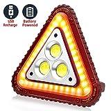 SunTop LED Dreieck Warnleuchte, USB Wiederaufladbare Arbeitsleuchte, Auto-Warnlicht, 30W Wasserdichtes COB Arbeitslicht Outdoor-Notleuchte mit 4 Leuchtmodi für Garage, Autoreparatur, Camping, Notfall