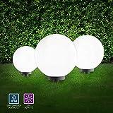 Kugelleuchten 3er Set für außen, Gartenlampe 30 + 40 + 50cmØ | Außenleuchten spritzwassergeschützt | Gartenleuchte, E27 Fassung | inkl. Erdspieß + 5m Stromkabel