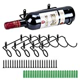 BSTKEY Weinflaschenhalter zur Wandmontage, Eisen, für Rotwein, Getränke, Likörflaschen, Metallhalterung zum Aufhängen, 6 Stück Flaschenmund nach links