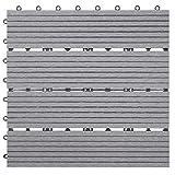 Mendler WPC Bodenfliese Rhone, Holzoptik Balkon/Terrasse, 11x je 30x30cm = 1qm ~ Basis, grau linear