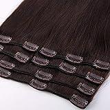 100% Remy-Echthaar Clip In Extensions Echthaar für komplette Haarverlängerung 105g-50cm (#2 Dunkelbraun)