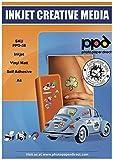PPD A4 Inkjet Vinyl Aufkleberfolie Weiß Matt Selbstklebend - Speziell beschichtet für vollfarbige Drucke in Fotoqualität - Wasserfest, Reißfest und Strapazierfähig - A4 x 10 Blatt PPD-38-10
