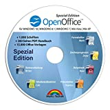 Open Office Spezial-Edition für Windows 10-8-7-Vista-XP | PC-Software mit 15.000 Vorlagen, 1.000 Schriften und PDF Handbuch | Kompatibel mit Word, Excel und PowerPoint