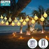 (2 Stück) LED Lichterkette Batterie, Kolpop 4.5M 30er Kristallkugeln Lichterkette Wasserdicht 8 Modus Lichterketten mit Fernbedienung Außen Innen Party Decor für Zimmer/Balkon/Weihnachten/Halloween