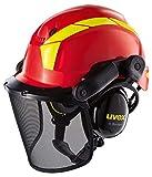 Uvex Pheos Forstschutzhelm - Arbeitshelm mit Gehörschutz & Visier - Rot