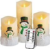 LED Weihnachten Kerzen, Flammenlose Kerzen Fernbedienung mit Timerfunktion, Größe 10 cm / 12,5 cm / 15 cm Hoch, 7,5 cm Durchmesser, Realistisch Flackernde LED-Flammen aus Echtwachs in Elfenbeinfarbe