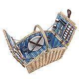 anndora Picknickkorb 4 Personen Weidenkorb Henkelkorb beige + Zubehör 23 TLG. - blau gestreift