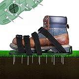 Rasenbelüfter Rasenlüfter Schuhe, 4 Verstellbare Riemen Rasen Nagelschuhe, 30cm Lange Sohlen, 5,5cm Lange Nägel, Universalgröße für das Rasen Vertikutieren die alle Schuhe oder Stiefel Passt