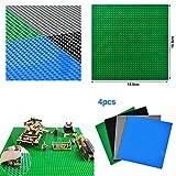 WOWOSS 4 Stück Bauplatte für Classic Bausteine Plastik Grundplatte - Schwarz, dunkelblau, dunkelgrün, dunkelgrau Premium-Bauplatten