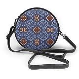 Dunkelblaue Bodenfliesen Ornament Muster Vektorbild runde Umhängetasche Reißverschluss Schultertasche weiches Leder Kreise Geldbörse für Frauen personalisierbar