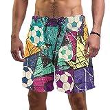 Lorvies Herren Fußball-Shorts mit Kritzelmuster, Grunge, Textur, Strand, Board-Shorts, schnell trocknend, Größe L Gr. S 7-9, multi