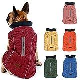 TFENG Reflektierend Hundejacke für Hunde, Hundemantel Warm gepolstert Puffer Weste Welpen Regenmantel mit Fleece (Rot, Größe L)