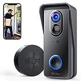 Victure Smart Video Türklingel Kamera Kabellos mit 1080P HD, PIR Bewegungserkennung, Zwei Wege Gegensprechfunktion, WiFi Verbindung, Weitwinkel, Lokaler Speicher, IP65 Wasserdicht für Heimsicherheit