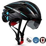 Shinmax Fahrradhelm, MTB Helm Herren Damen Verstellbar Rennradhelm mit abnehmbarem Augenschutz und Abnehmbarer Schutzbrille mit wiederaufladbar Sicherheit Led-Rücklicht Radhelm Rennradhelm